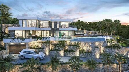 The villa with panoramic views to the sea and Calpe, newly built.