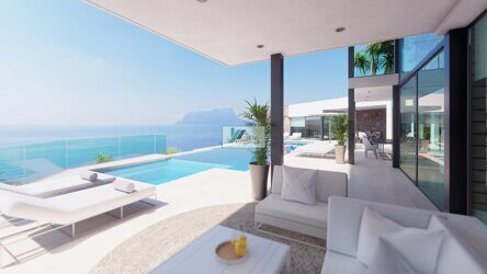 Villa on the seafront in Moraira, Costa Blanca. New construction. Villa with stunning views of the sea and the Peñon de Ifach, and with direct access to the beach.
