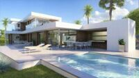 New construction. Villa with sea views, modern design, just 900 m from the Arenal beach and the promenade in Calpe